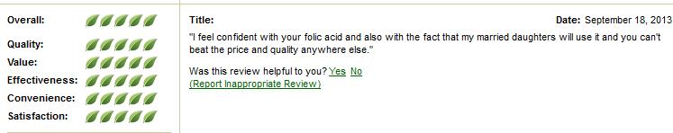 Nhận xét người dùng Swanson folic acid