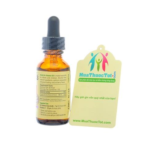 Vitamin D thành phần chính của ChildLife Vitamin D3 Formula