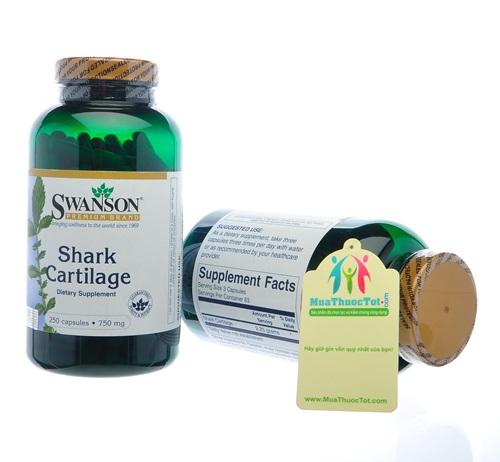 Swanson Shark Cartilage 250 viên, 750 mg với chiết xuất từ xương và sụn của vi cá mập
