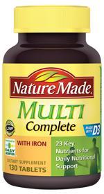 Nature Made Multi Complete thuốc bổ sung vitamin khoáng chất cần thiết cho cơ thể
