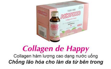 Nước uống collagen giúp da trắng sáng, giảm nếp nhăn collagen de happy 10000mg hộp 10 chai