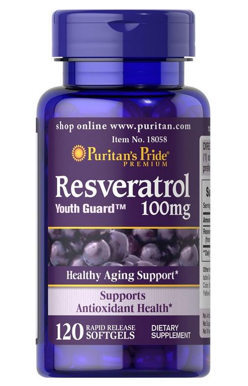 Puritan's Pride Resveratrol 100 mg giúp chống lại quá trình oxy hóa và hổ trợ tim mạch