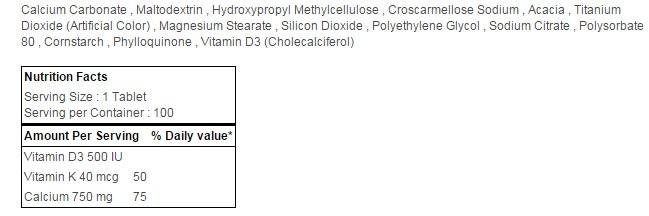 Nature Made Calcium 750 mg + D + K