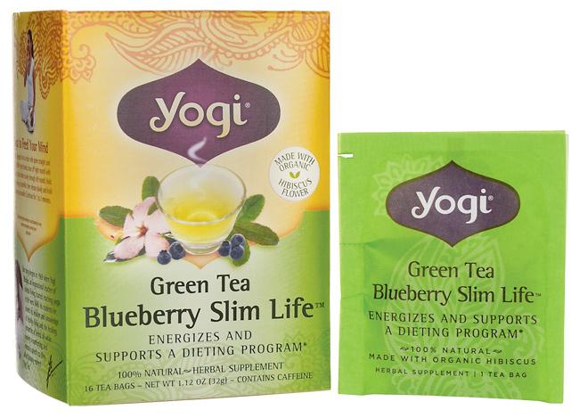 Trà xanh yogi herbal tea green slim life blueberry 16 gói - thức uống dành cho người ăn kiêng, giải pháp làm tan mỡ an toàn, bảo vệ sức khỏe