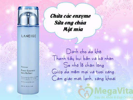 Nước hoa hồng dành cho da khô laneige power essential skin refiner moisture 200ml