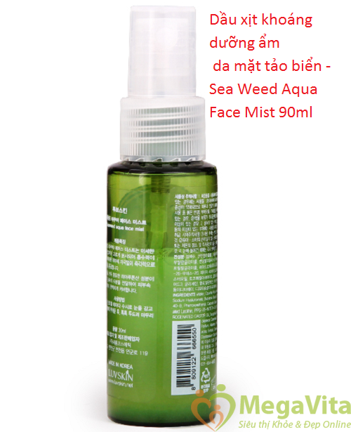 Dầu xịt khoáng dưỡng ẩm da mặt tảo biển luvskin sea weed aqua face mist 90ml