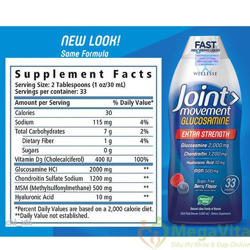 Nước uống bổ sung glucosamine, chondroitin, msm duy trì sức khỏe xương khớp: wellesse joint movement liquid glucosamine, 1000 ml