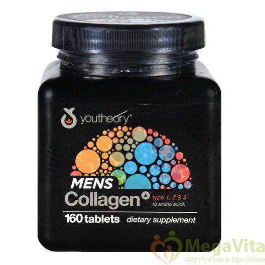 Collagen nam, nâng cao thể lực, làm căn mộng da, chắc xương Youtheory Mens Collagen type 1 2 & 3 Mỹ, hộp 160 viên