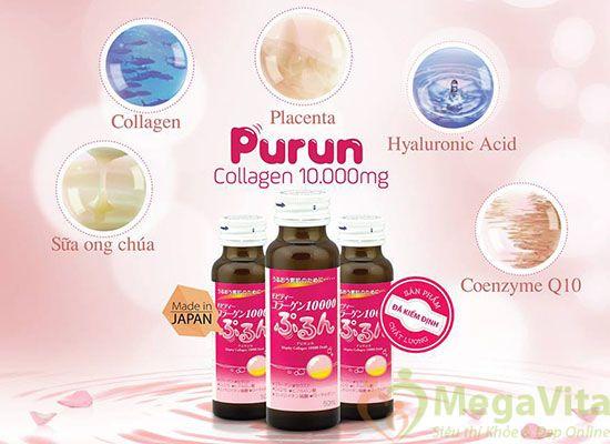 Collagen purun mega của nhật bản 3 trong 1 hộp 10 chai 10,000mg