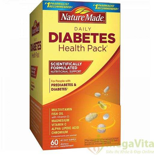 Nature made diabetes health pack 60 gói - viên hỗ trợ điều trị và cung cấp chất dinh dưỡng cho người bệnh tiểu đường