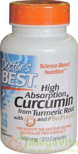 Doctor's best high absorption curcumin: viên uống chiết xuất từ nghệ và tiêu đen hỗ trợ điều trị ung thư, các bệnh về gan và chống lão hóa, 120 viên