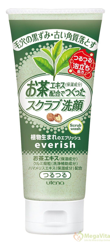 Sữa rửa mặt tẩy tế bào chết utena everish trà xanh 130g