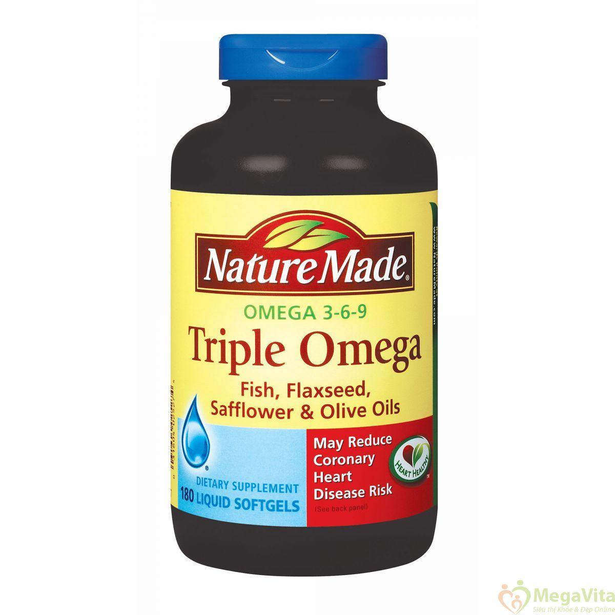 Nature made triple omega: thuốc bổ sung omega, tốt cho tim mạch và trí não