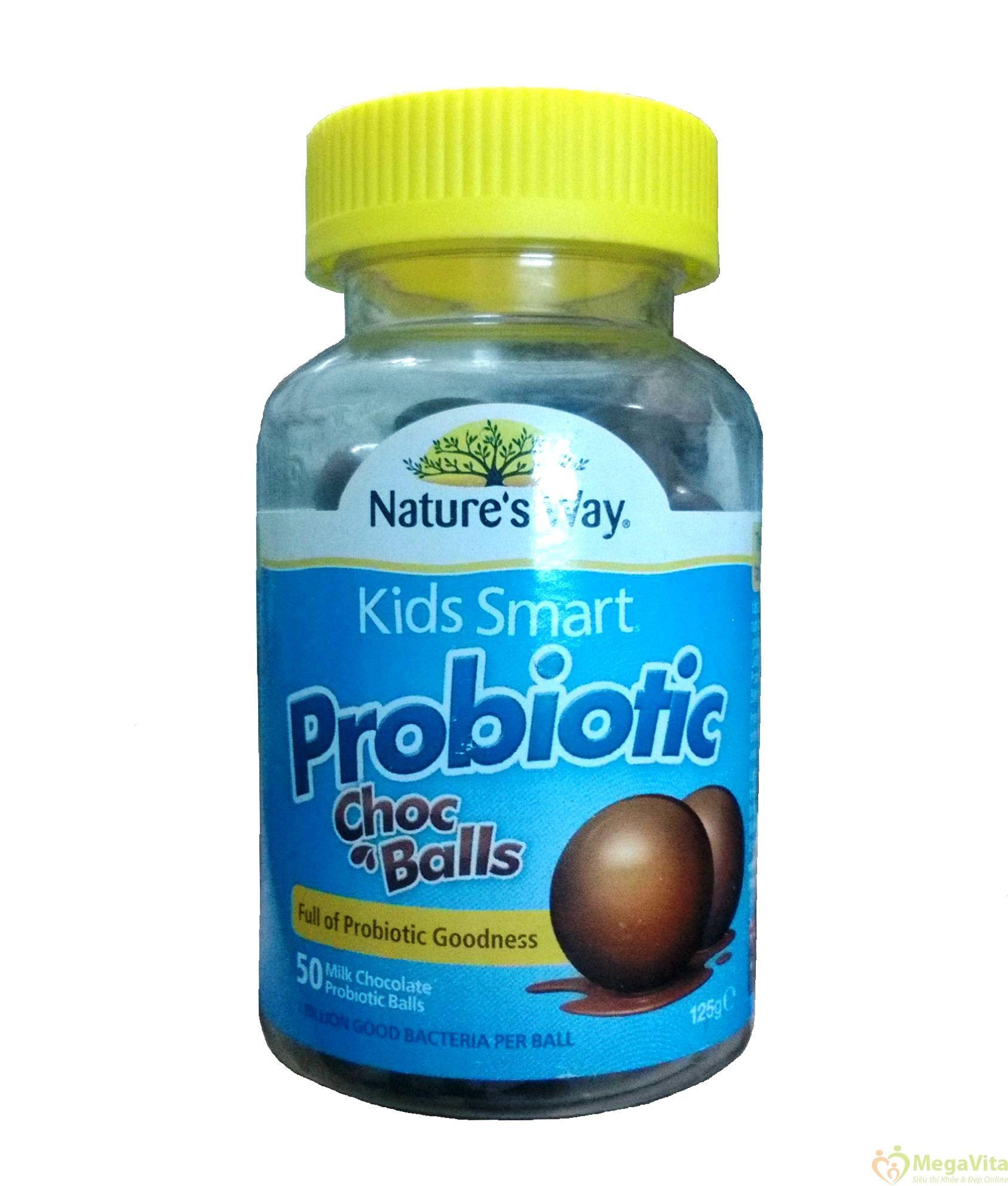 Kẹo bổ sung lợi khuẩn, hỗ trợ tiêu hóa cho bé kids smart probiotic hương chocolate hộp 50 viên