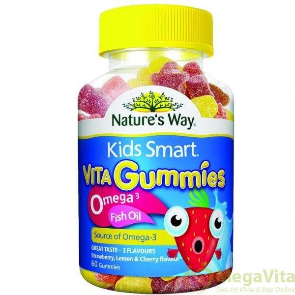 Kẹo dẻo cung cấp omega 3 từ dầu cá cho bé kids smart vita gummies omega 3 fish oil hộp 60 viên