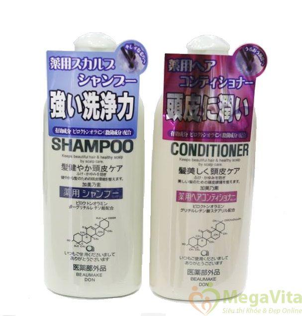 Bộ dầu gội và dầu xả kích thích mọc tóc kaminomoto medicated của nhật bản