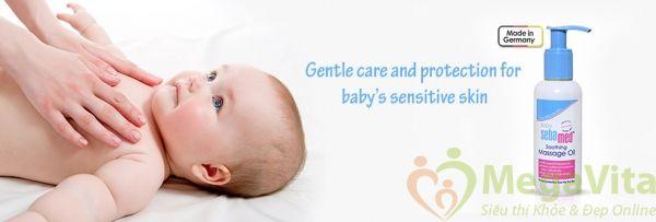 Tinh dầu massage trẻ em giúp làm mềm và bảo vệ da bé baby sebamed của Đức 150ml