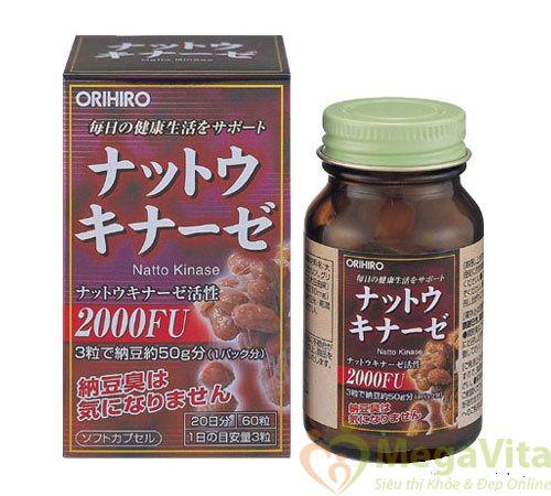 Viên uống hỗ trợ điều trị tai biến mạch máu não, cải thiện trí nhớ orihiro nattokinase 2000fu của nhật hộp 60 viên