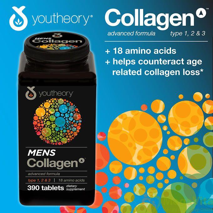 Viên uống collagen cho nam giới làm sáng da, tăng cường sức khỏe, hỗ trợ xương khớp youtheory men collagen type 1, 2 & 3 của mỹ hộp 390 viên