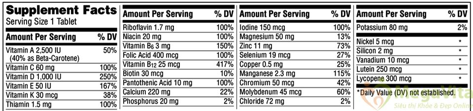 Viên uống bổ sung vitamin và khoáng chất cho người trên 50 tuổi centrum silver adults 50 hộp 325 viên