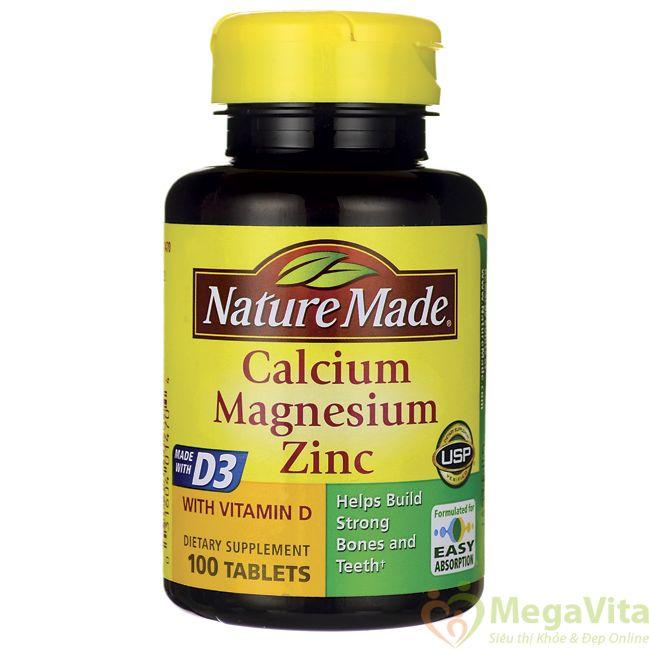 Viên uống bổ sung canxi, magie và kẽm cho xương và răng chắc khỏe nature made calcium magnesium zinc with vitamin d của mỹ hộp 100 viên