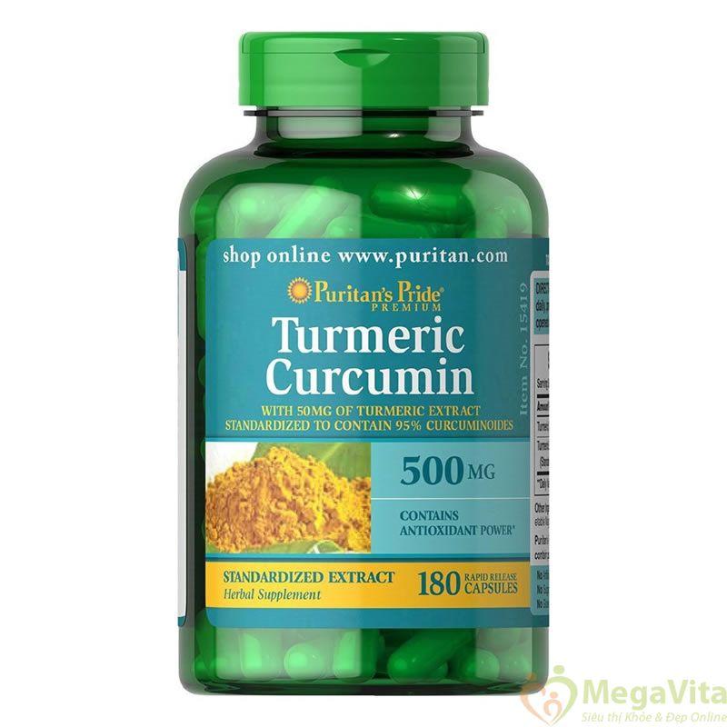 Viên uống tinh nghệ vàng chống lão hóa, phòng ngừa ung thư puritan pride turmeric curcumin 500mg của mỹ hộp 180 viên