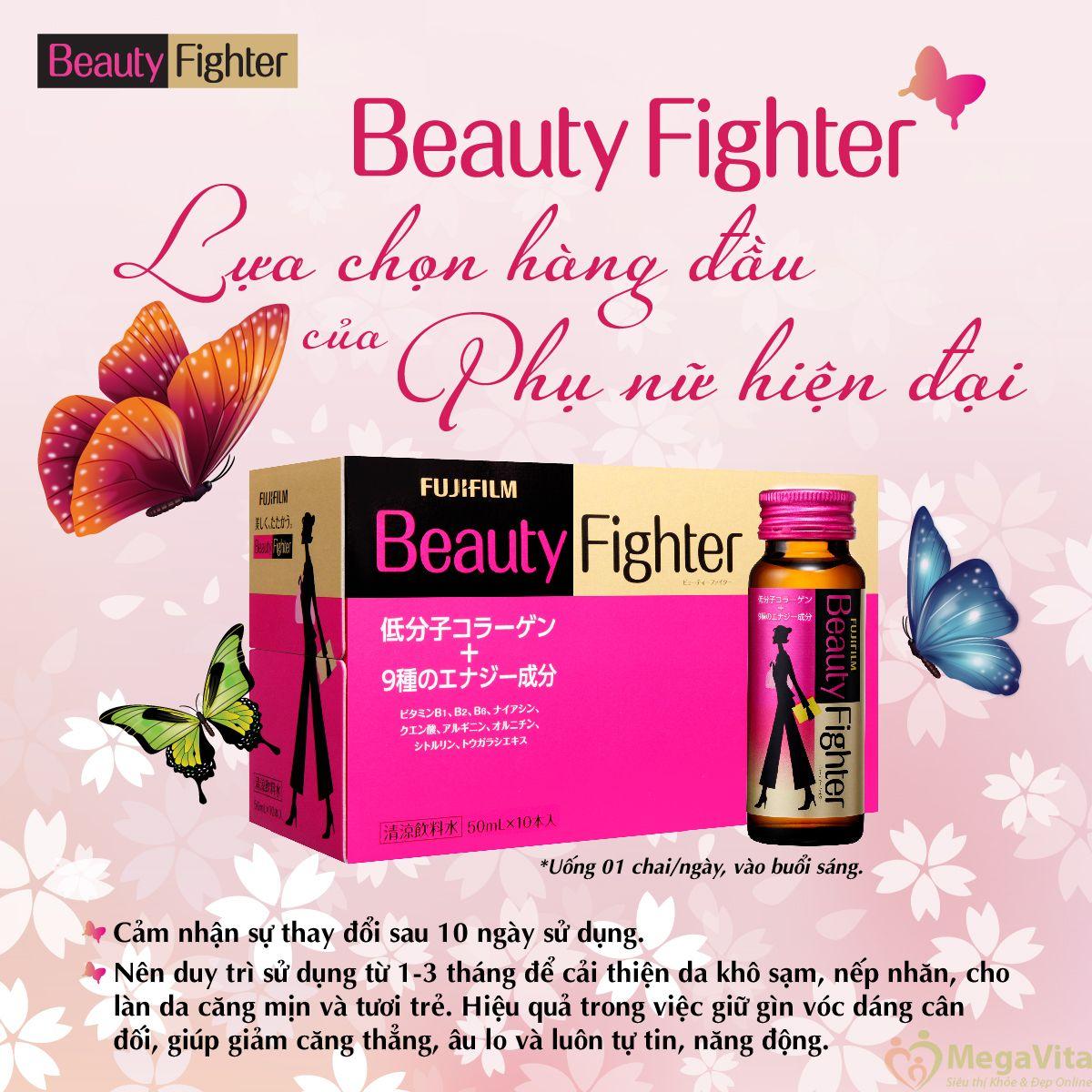 Nước uống bổ sung collagen và vitamin giúp chống lão hóa, tăng cường sức khỏe beauty fighter 3.000mg của nhật bản hộp 10 chai