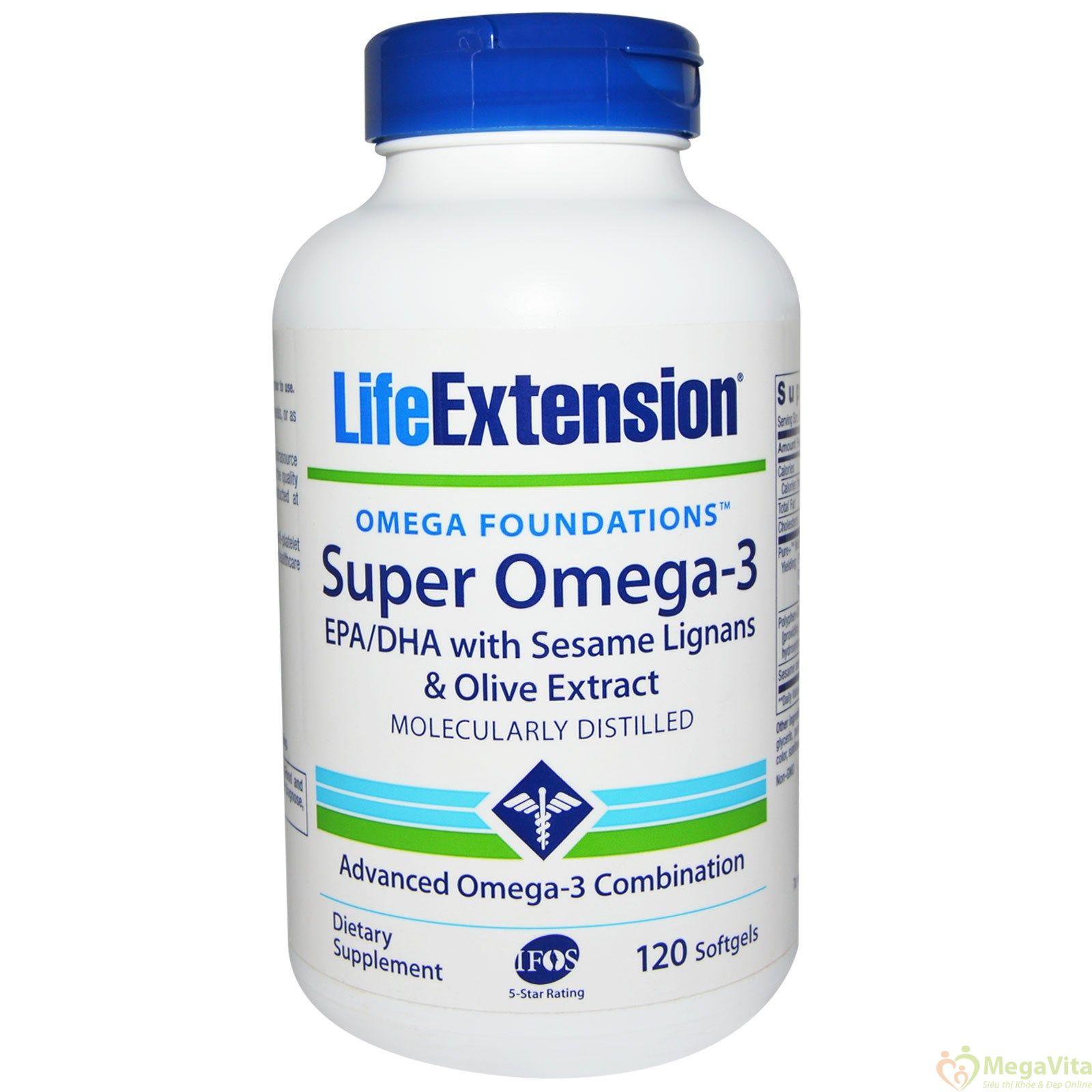 Viên uống bổ sung omega 3 tốt cho tim mạch, trí não và thị giác life extension super omega 3 hộp 120 viên