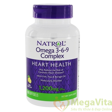Viên uống bổ sung omega 3, 6, 9 ổn định huyết áp, tăng hệ miễn dịch natrol omega 3-6-9 complex của mỹ hộp 90 viên
