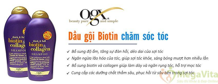Ogx thick and full biotin and collagen shampoo 750ml của mỹ - dầu gội ngăn rụng tóc, kích thích mọc tóc